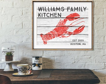 Lobster Decor Art Print, Personalized Kitchen Decor, Anniversary Gifts For  Couples, Rustic Nautical