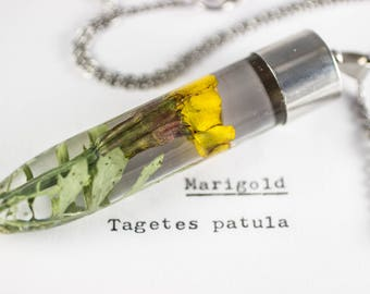 Marigold (Tagetes patula) Botanical Jewelry, Gifts for Gardeners, Real Flower Resin, October Flower, Boho Accessories, Mori Kei, Autumn