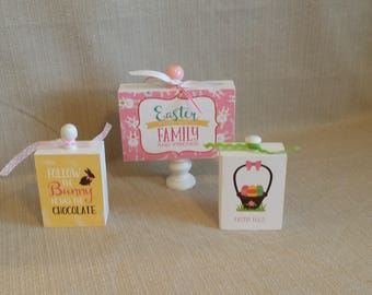 Wood Blocks, set of 3, home decor, Easter Fun, family, friends, follow the bunny, Easter eggs, ready to ship