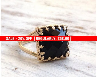 SALE 20% OFF Onyx Ring gold - black Stone ring - Square Ring - Stacking Ring - Gemstone Ring - Black Onyx - 30015