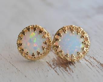 Opal earrings,gold opal earrings,White opal earrings,stud earrings,Gold filled earrings,delicate earrings,opal earrings gold,silver studs