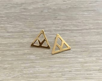 Chevron Earrings, Gold Earring, Triangle Earring, Dainty Earring, Gold Studs