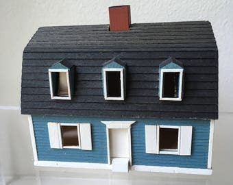 Dollhouse Miniature Gudgel Blue House 1981 (JSJ)