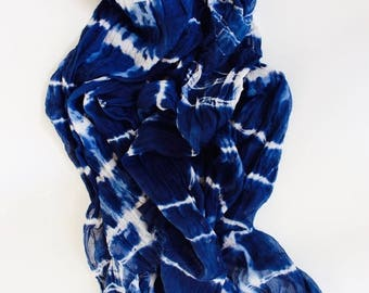 ON SALE Indigo Scarf, Shibori Scarf, Blue cotton Scarf, Hand Dyed Scarf, Cotton Scar gift