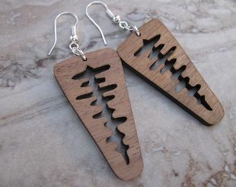 Walnut Wood Tree Earrings, Silver Ear Wires, Nature, Out Doors,  Toniraecreations
