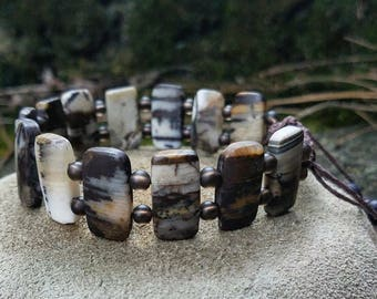 Men's adjustable bracelet, amazonite and quartz