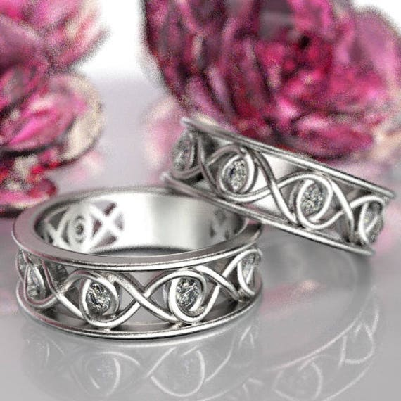 Celtic White Sapphire Wedding Ring Set With Infinity Knot Design in Sterling Silver, Made in Your Size CR-511