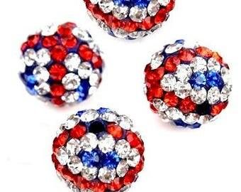 lot 5 10mm Crystal, English flag, UNION JACK, disco beads