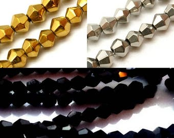 Set of 50 Czech crystal bicones, 4 and 6mm - 7 colours