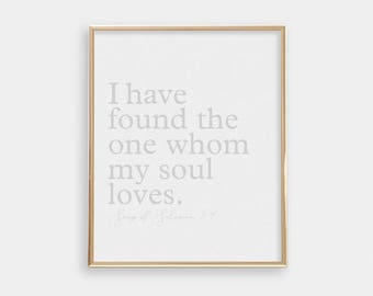 Wedding Gift - PRINTABLE Art Print - Minimalist Modern - Religious - I Have Found The One - Beige Light Grey - Anniversary Gift - SKU:6007