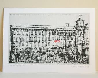 Saltaire Art Print, Salts Mill Drawing, Limited Edition Giclee, Yorkshire Wall Art, Watercolour Painting, Clare Caulfield, England Buildings