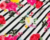 RESERVED KD- Toddler Bed Blanket, Jersey Knit Stripe Floral Dark Pink Faux Fur, Toddler Girls, Girl, Blanket, Gift, BizyBelle