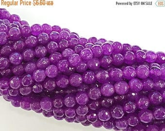 """25% OFF 6mm Jade Faceted Round, Dark Bodacious Pink, 15 """", 64 Beads, Pink Orchid gemstone Beads - SJA 200"""