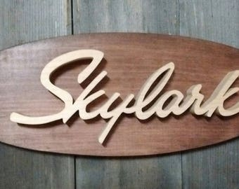 1964 Buick Skylark Emblem Oval Wall Plaque-Unique scroll saw automotive art created from wood for your garage, shop or man cave.