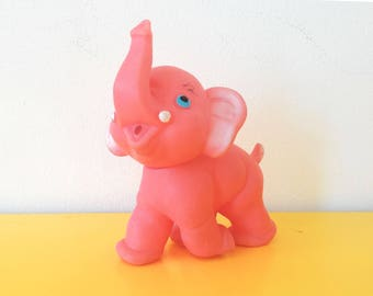 Pink Vintage Rubber Squeaky Elephant children's /baby  toy, Made in italy