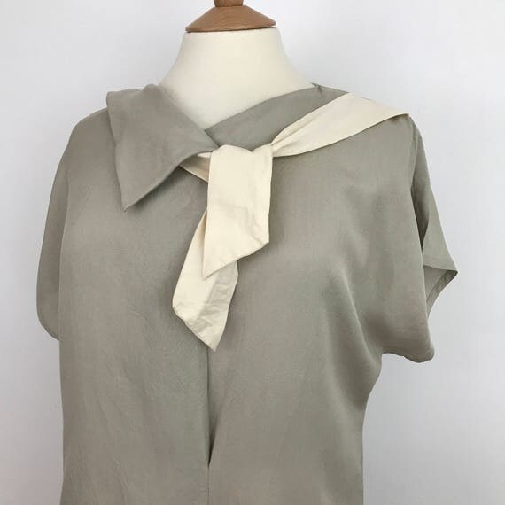 vintage silk dress Benny Ong square cut minimalist dress stone cream square cut assymeyric neck tie kimono cut day 12 14 grey gray