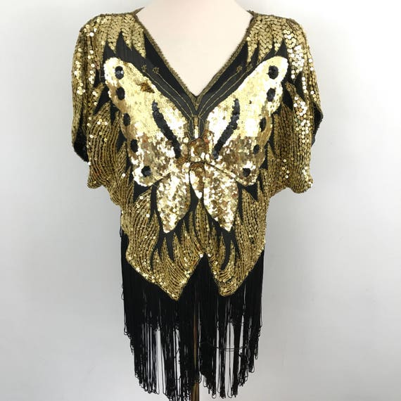 Vintage sequin top disco butterfly trashy sparkle fringed Gatsby flapper costume christmas party UK 8 12 glittery gold one size fringe black