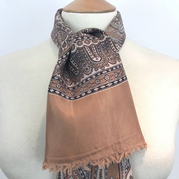 Vintage gents scarf paisley silky crepe acetate gentlemans cravat menswear scarf brown cream long oblong Mod neckerchief hugh hefner 1960s