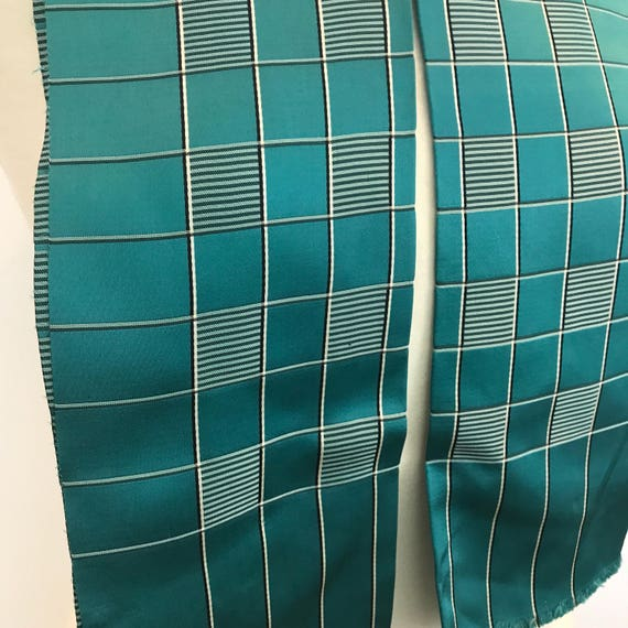 1940s scarf checkered satin turquoise green stripes black neck tie evening scarf 40s  silky fringed 30s