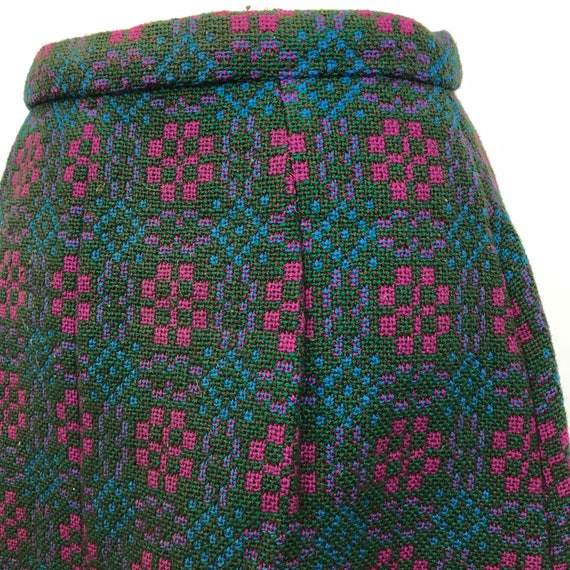 Welsh Wool skirt turquoise pink maxi skirt woven Wales UK 12 1970s long skirt boho traditional woollen A line fabric crafting