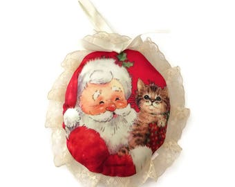 Giordano Santa Claus Christmas Ornament, kitten Christmas ornament, vintage tree ornaments, cloth ornament