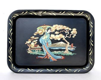 Vintage Toleware Tray - Hand Painted Toleware Tray - Geisha Girl Decor - Vintage Japanese Decor - Decorative Tray - Vintage Metal Tray