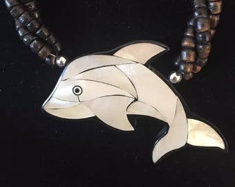 Vintage Whale Beaded Necklace