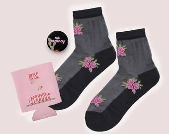 The Pink Vay-cay Set! Bloom Sheer Socks + Pink Stubby + No Vacancy Black Pin
