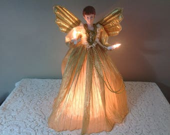 Angel Tree Topper Etsy - Christmas Angel Tree Topper Lighted