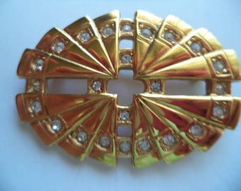 Vintage Signed Swarovski Goldtone/Crystal Goldtone Art Deco Brooch/Pin