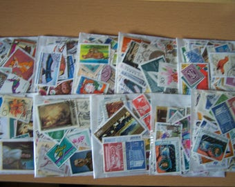100 Different Worldwide Postage Stamps - Mixed Media, Artist Trading Cards, Handmade Cards, ATC, Scrapbooking