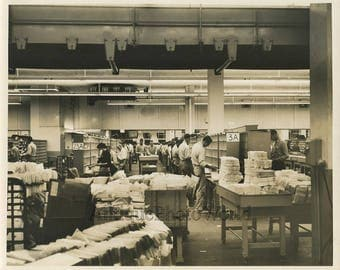 Post office mail sorting facility workers antique photo