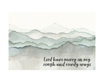 Modern Rectangle Mountain Landscape Watercolor Art Print