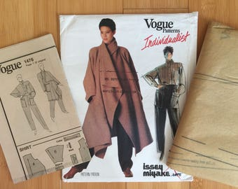 Issey Miyake Origami individualist Coat Pants Blouse Top Vogue 1476 sewing pattern 1990s