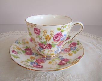 "Royal Stafford ""June Roses"" Chintz Tea Cup & Saucer - Bone China England"