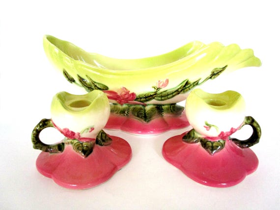 Hull Pottery, Woodland Console Bowl and Candle Holders, Hull Woodland Console Set, High Gloss, American Art Pottery