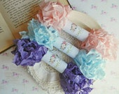 Seam Binding Ribbon / Crinkled Seam Binding / 15 Yards / Shabby Chic Gift  / Violet, Sky Blue, Baby Pink / Hand Crinkled Seam Binding