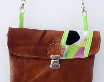 Brown and colorful recycled leather clutch