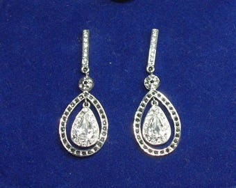 Jackie Kennedy Teardrop Earrings - Platinum Plated and Crystals with Box and Certificate