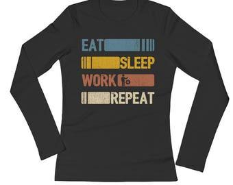 Eat Sleep Work Repeat Funny Vintage Retro Gift