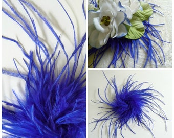 Royal Blue Ostrich Herl Feathers Puff Trim for Hats Fascinators Crafts Costumes Cobalt Millinery