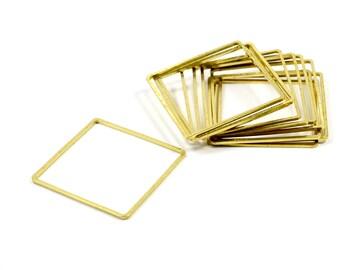 100 Pcs. Raw Brass 30x30 mm Geometric Square Circle Findings