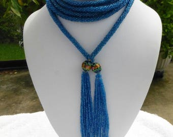 Art Deco Flapper Crocheted Rope Sapphire Blue Glass Bead Lariat Tassle Necklace
