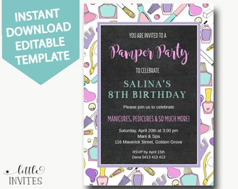 pamper party invitation instant downloadspa party invitationsmani pedi invitationslumber party - Pamper Party Invitations