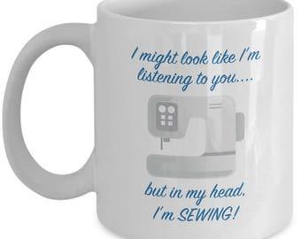 Fun Funny Sewing Mug Gift Machine Seamstress Sew Love Crafting Crafts