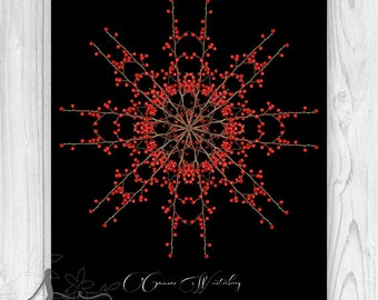Red Winterberry Botanical Holiday Home Decor, Winter Home Decor, Botanical Mandala, Winterberry Christmas Wall Decor, Botanical Snowflake
