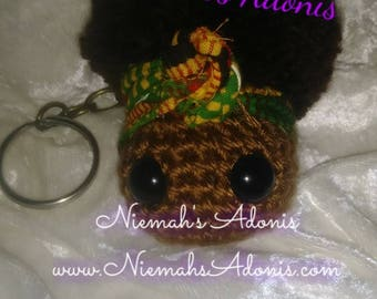 Little Black Girl Keychain/Purse Charm Kente Head Scarf