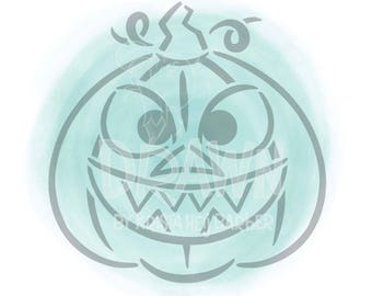 Angry Pumpkin PYO AND Silhouette - SVG Stencil File- Personal Use only