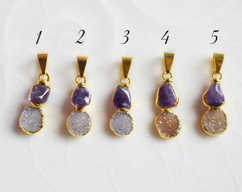 Amethyst and Druzy Pendant, Electroplated, 24K gold