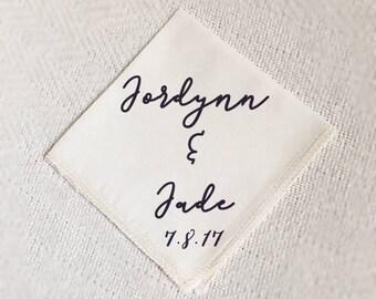 personalized handkerchief, wedding handkerchief white, father of the bride handkerchief, wedding, printed handkerchief, polka dot cotton